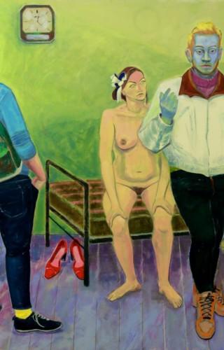 Gizem Enuysal - Kırmızı Pabuçlu Kadın, Tuval üzerine yağlıboya, 100x170 cm, 2015