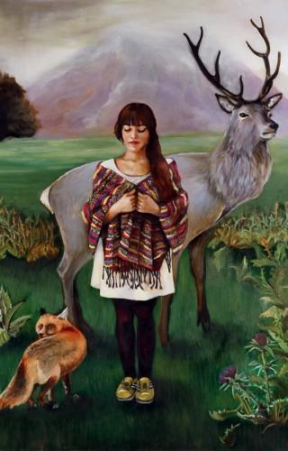 Eylül Köksümer - Geyikli Gece, Tuval üzerine yağlıboya, 140120 cm, 2015