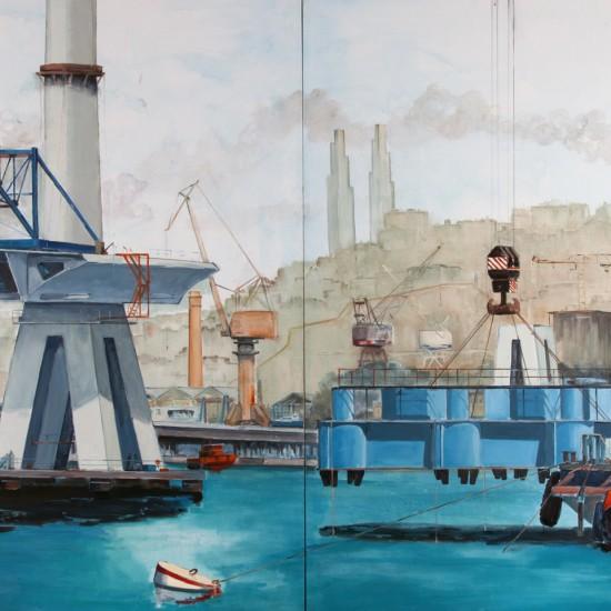 Vasıf Pehlivanoğlu - Denizde İnşaat IV, TUYB, 180x300 cm, 2013