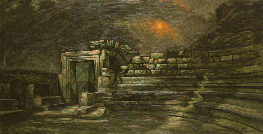 Hüsnü Koldaş - Iasos Bouleuterion, Tuval üzerine yağlıboya, 100x160 cm