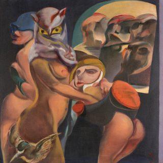 Kemal İskender - O'nun Hikayesi, Tuval üzerine yağlıboya, 100x100cm, 1976