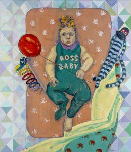 Gizem Enuysal - Boss Baby Tuval üzerine yağlı boya, 150x150 cm, 2021